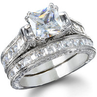 CZ Engagement Ring Set - Sheridan's Princess Shape Platinum Finish
