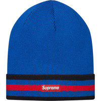Supreme: Striped Cuff Beanie - Blue