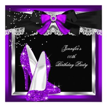 Purple Glitter High Heel Silver Birthday Party