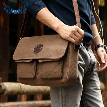 Stylish Men's Novelty Canvas Single Shoulder Messenger Working Hiking Travel Sling Bag Satchel