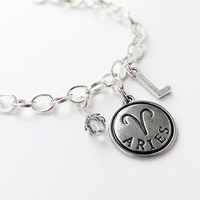 Aries Zodiac Jewelry - Aries Sign Gift - Birthstone Jewelry - April Zodiac Bracelet - Letter Initial Charm