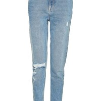 MOTO Mid Blue Ripped Mom Jeans