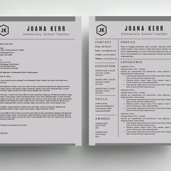 Teacher Resume Template  Professional Resume Template CV Template Cover Letter for MS Word  Instant Digital Download Mac or Pc Joana Kerr