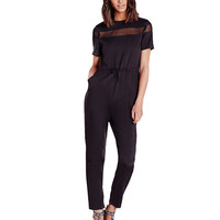 Black Mesh Cut-out Jumpsuit