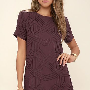 Lucy Love Charlotte Burgundy Embroidered Shift Dress