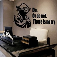 Wall Decals Quote Yoda Do Or do not Star Wars Decal Vinyl Sticker Home Decor Interior Design Nursery Baby Room Decor Art Murals Ms718
