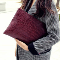 Fashion crocodile grain women's clutch bag leather women envelope bag clutch evening bag female Clutches Handbag free shipping