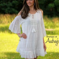 White Cold Shoulder Ruffle Dress with Tie on Front - Boutique At Audrey's