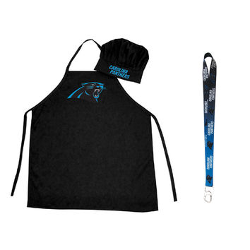 Carolina Panthers NFL Barbeque Apron and Chef's Hat with Bottle Opener
