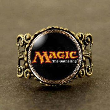 Magic the Gathering MtG Logo Cards Card Mens brass silver Ring steampunk Jewelry Gift women