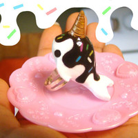 Ice Cream Narwhal Ring by SprinkleChick on Etsy