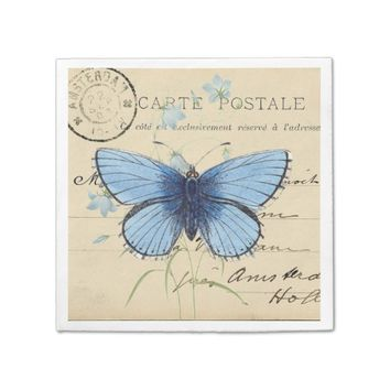 Vintage Blue Butterfly French Postcard Napkin