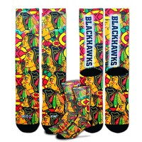 For Bare Feet Chicago Blackhawks Montage Crew Socks - Men, Size: L (Hwk Team)