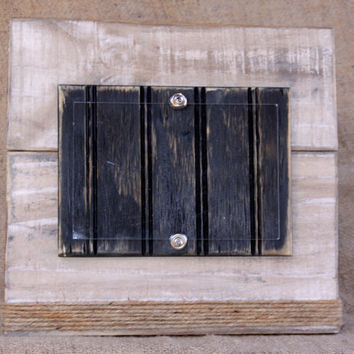 Handmade plank picture frame for 4x6 photo; distressed ivory with distressed black wood mat