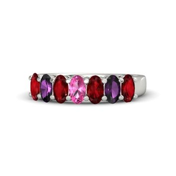 Oval Pink Tourmaline Palladium Ring with Ruby & Rhodolite Garnet