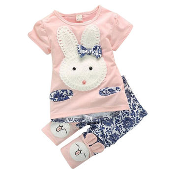 Embroidered Cute Rabbit Tee & Rabbit Pants Casual Outfit For Toddler Girls
