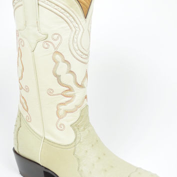 Gavel Handcrafted Men's 4-Piece Ostrich Cowboy Boots Ivory