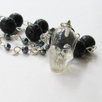 Crystal Skull Necklace, Resin Skull, Mens Skull Necklace, Hematite and Lava Necklace, Gemstone Necklace