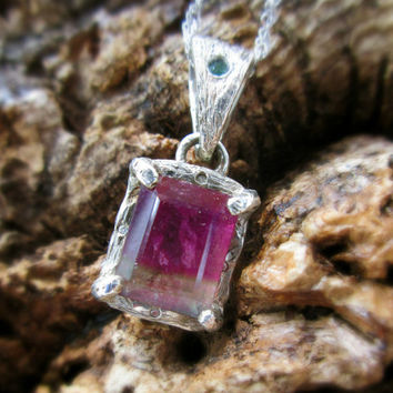 READY TO SHIP | Watermelon Tourmaline Pendant with Emerald and Diamonds - 925 Silver