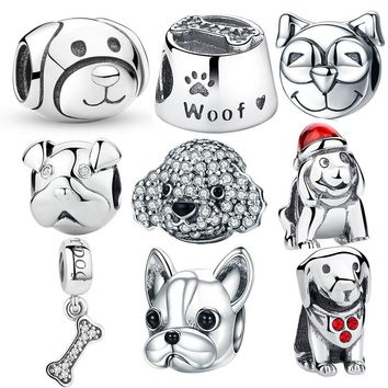 925 Sterling Silver A Dog's Story, Poodle Cute Puppy French Bulldog Beads