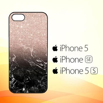 Modern rose gold ombre black marble E1399  iPhone 5|5S|SE Case