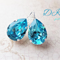 Swarovski Bridal Earrings, Pears, Turquoise, Drops, Dangles, Beach Wedding, 18x13 mm, LeverBacks, DKSJewelrydesigns, FREE SHIPPING