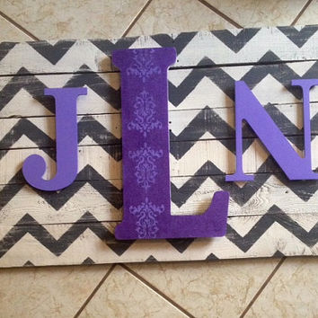 Monogramed Sign, Chevron, Purple and White, Wooden Signs, Initials, Teens Room, Housewarming Gifts, personalized decor