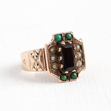 Victorian Garnet Ring - Late 1800s Antique 10k Rosy Yellow Gold Seed Pearl & Turquoise - Vintage Size 4 1/4 Red Gemstone Fine Jewelry