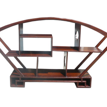 Chinese Medium Brown Fan Shape Display Curio Cabinet cs479S