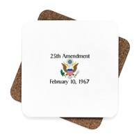 25th Amendment Square Hardboard Coaster Set - 4pcs, Political Coasters