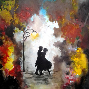 Valentine's Day - Love Couple Dance - Original Watercolor Painting - Abstract Contemporary Art - Watercolor & Acrylic On Paper