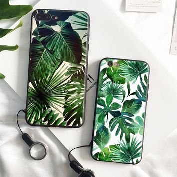 Palm tree Leaves pattern coque soft silicone Phone Case cover Shell For Apple iPhone 5 5s Se 6 6s 7 8 Plus X XR XS MAX