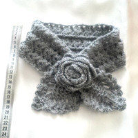 Kids Gray scarf-girls crochet scarflette-Kids cowl-,Scarf with flower, Pineapple Scarf, Soft, Color Choice, Crocheted, Women's, CWL-802
