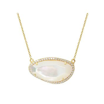 Gold Plated Sterling Silver Mother of Pearl Slice Pendant Necklace, 16""