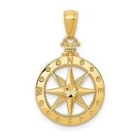14k Yellow Gold Dia.-Cut and Polished 18.7mm Compass Pendant