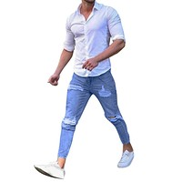 Men's Stretchy Ripped Skinny Destroyed Taped Slim Fit Denim Jeans