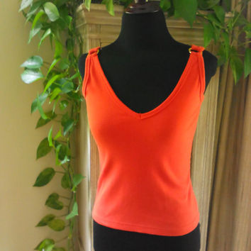 Vintage Sassy Sexy Retro 70s Mod Sleeveless Knit Top Size XS Size XXS Low Cut Top Summer Top Crop Top Tank Top Spring Top Retro 80s Top