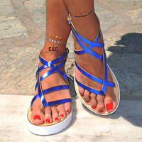 "Women Leather Sandals ""Terpsichore"", Strappy sandals, genuine leather, Gladiator Sandals"