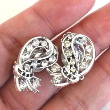 Vintage Clear Rhinestone Silver Tone Clip Earrings 1960s Ribbon Shaped