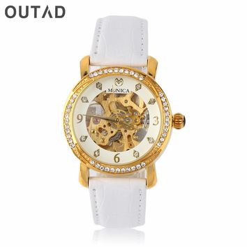 OUTAD Diamond Hollow Dial Womens Small Mechanical Watches Classic Analog Clover PU Leather Band Feminino Saat