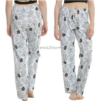 Licensed cool DISNEY Beauty & the Beast Belle Rose BLUE Ladies Jogger Lounge Pants Pajamas NEW