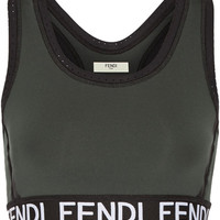 Fendi - Roma perforated stretch sports bra