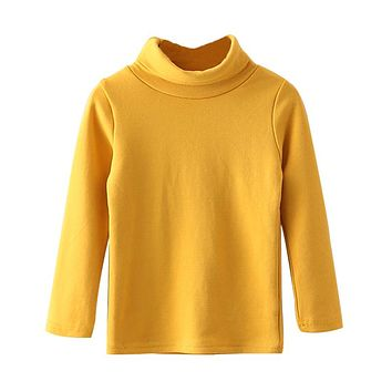 Autumn Winter Baby Boys Girls T-shirts New Casual Turtleneck Children Shirts Long Sleeve Warm Toddlers Clothing Tops Tees