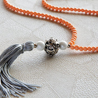 long tassel necklace , handmade necklace , made of saumon round crystal beads , women's jewelry , gifts , summer necklaces