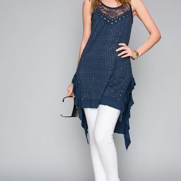Vocal Hi Lo Shabby Chic Tunic - Navy