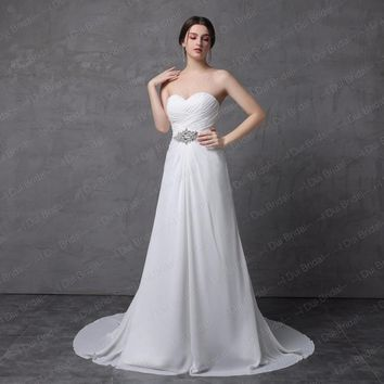 Simple A line Chiffon Wedding Dress with Rhinestone Belt Sweetheart Strapless Long Bridal Gown