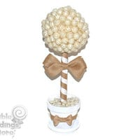 White and Burlap Rustic Lollipop Topiary, Candy Topiary, Wedding Centerpiece, Rustic, Wedding, Centerpiece, Candy Buffet, Burlap, White