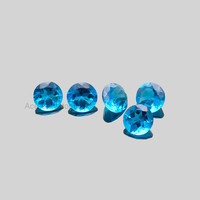 10mm Round Swiss London Blue Topaz Loose Gemstone Concave Cut, Special Pieces for making jewelry - 5 Pcs.