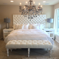Extra-Wide King Diamond Tufted Headboard and Bench Set in White Velvet (Wide King, Extra Tall)