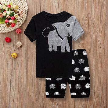 MUQGEW Children clothing set 2PCs Kid Baby Boys Short Sleeve Clothes Set Elephant Print Tops+Shorts Outfits kids winter clothes